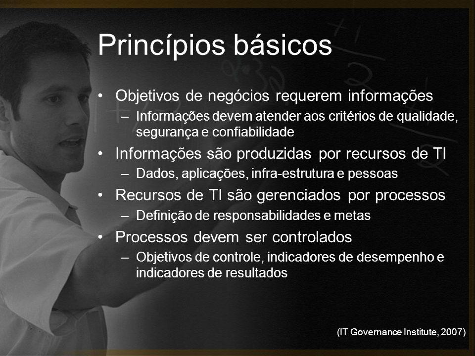 (IT Governance Institute, 2007) Princípios básicos Objetivos de negócios requerem informações –Informações devem atender aos critérios de qualidade, s