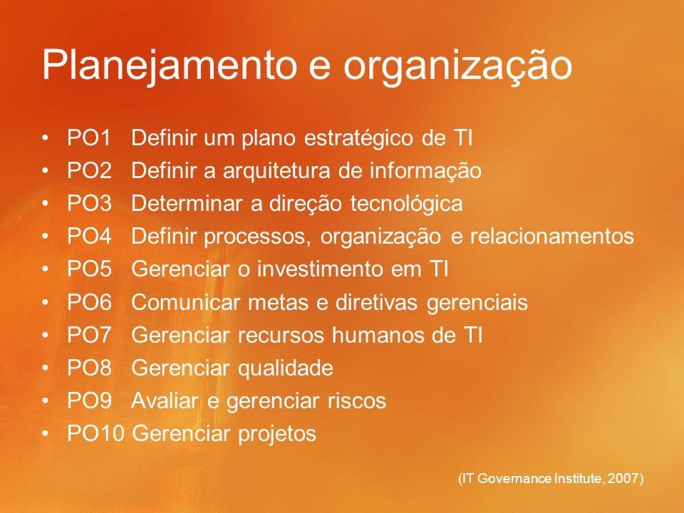 (IT Governance Institute, 2007) Planejamento e organização PO1 Definir um plano estratégico de TI PO2 Definir a arquitetura de informação PO3 Determin