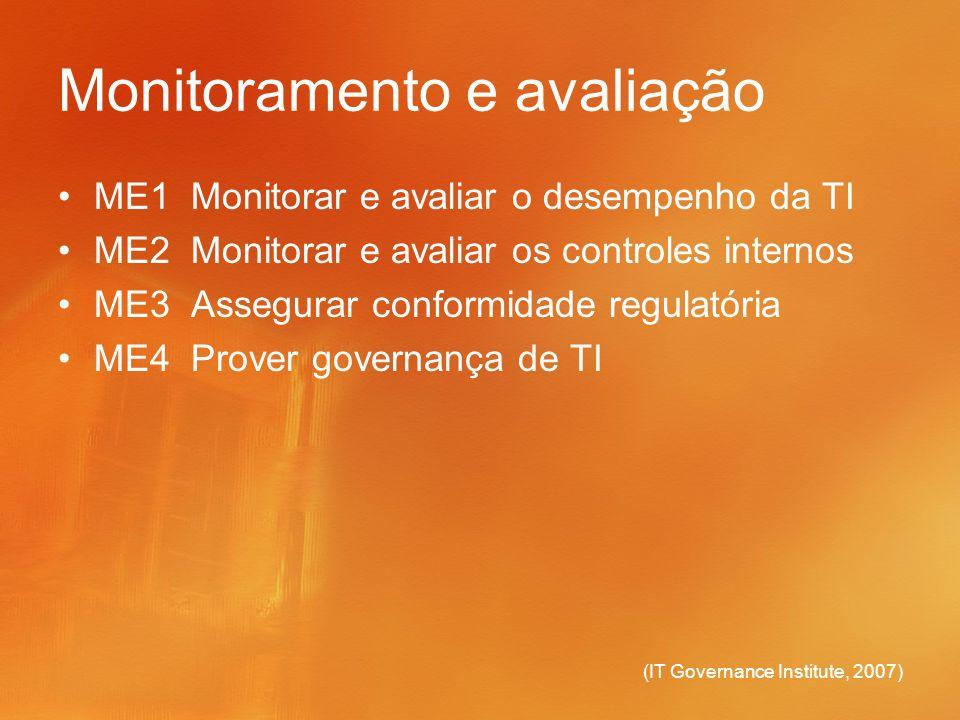 (IT Governance Institute, 2007) Monitoramento e avaliação ME1 Monitorar e avaliar o desempenho da TI ME2 Monitorar e avaliar os controles internos ME3