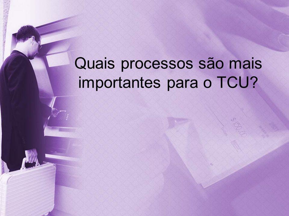 Quais processos são mais importantes para o TCU?