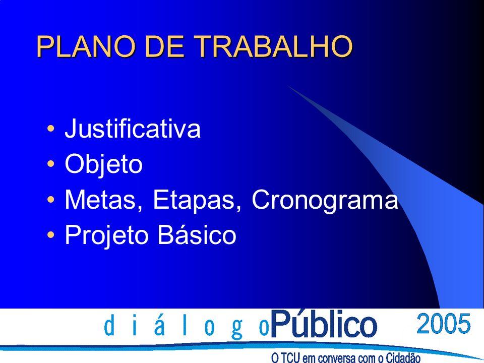 PLANO DE TRABALHO Justificativa Objeto Metas, Etapas, Cronograma Projeto Básico
