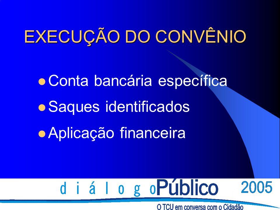 EXECUÇÃO DO CONVÊNIO Conta bancária específica Saques identificados Aplicação financeira