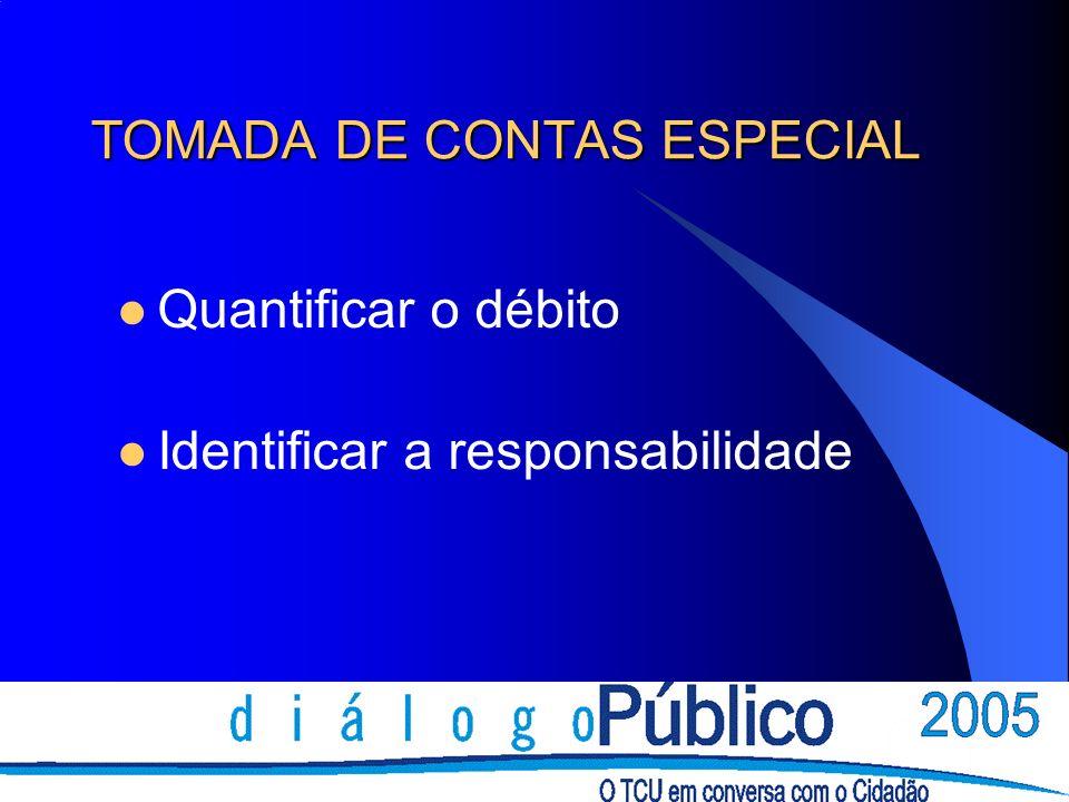 TOMADA DE CONTAS ESPECIAL Quantificar o débito Identificar a responsabilidade