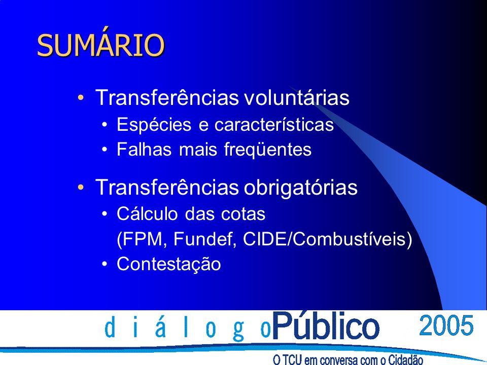 SUMÁRIO Transferências voluntárias Espécies e características Falhas mais freqüentes Transferências obrigatórias Cálculo das cotas (FPM, Fundef, CIDE/