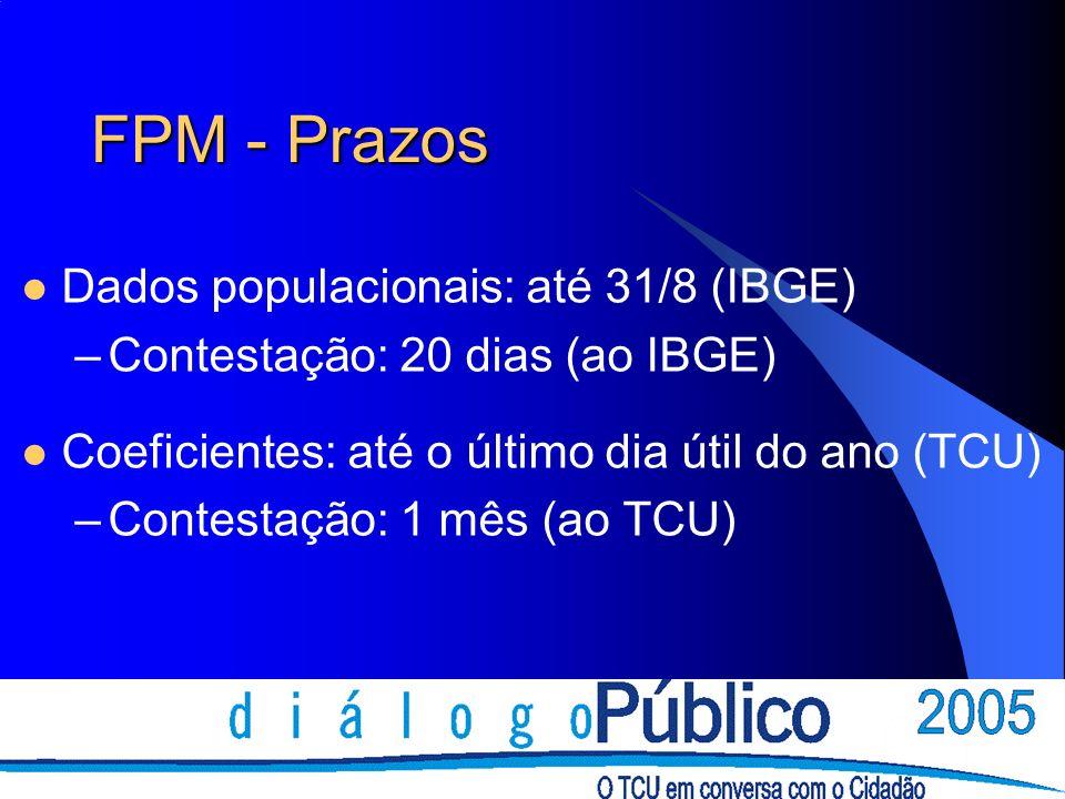 FPM - Prazos Dados populacionais: até 31/8 (IBGE) –Contestação: 20 dias (ao IBGE) Coeficientes: até o último dia útil do ano (TCU) –Contestação: 1 mês
