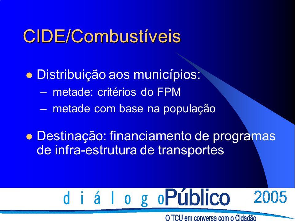 CIDE/Combustíveis Distribuição aos municípios: – metade: critérios do FPM – metade com base na população Destinação: financiamento de programas de inf
