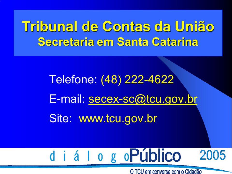 Tribunal de Contas da União Secretaria em Santa Catarina Telefone: (48) 222-4622 E-mail: secex-sc@tcu.gov.br Site: www.tcu.gov.br