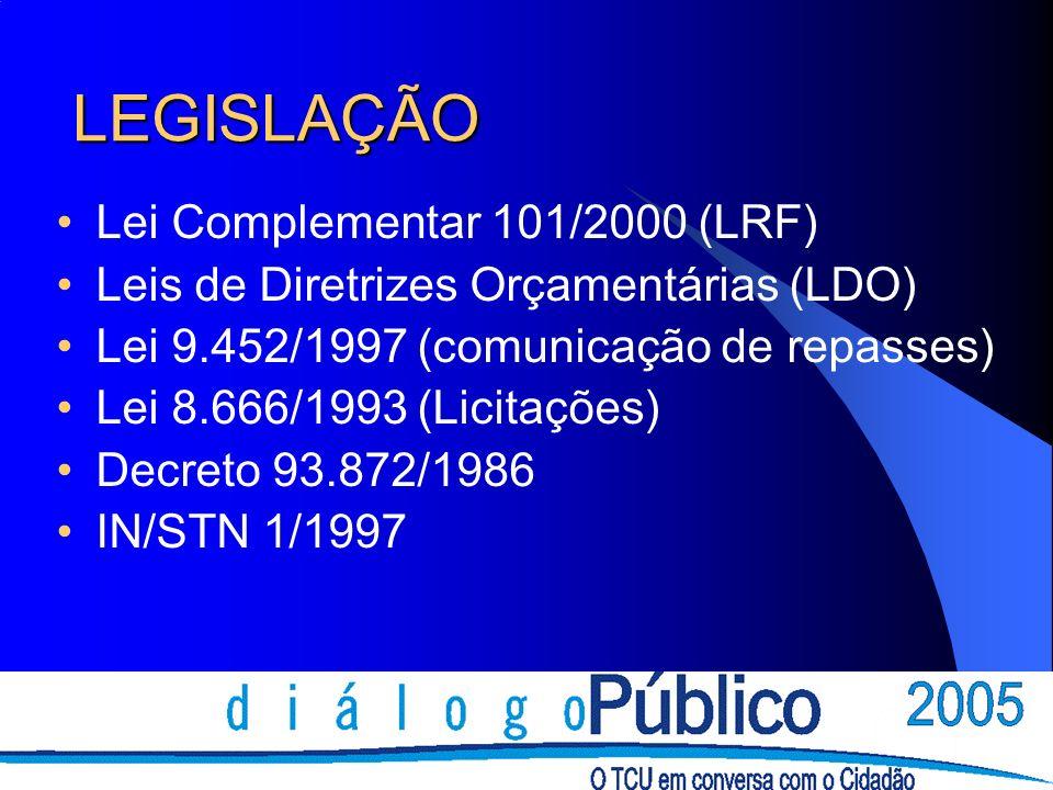 LEGISLAÇÃO Lei Complementar 101/2000 (LRF) Leis de Diretrizes Orçamentárias (LDO) Lei 9.452/1997 (comunicação de repasses) Lei 8.666/1993 (Licitações)