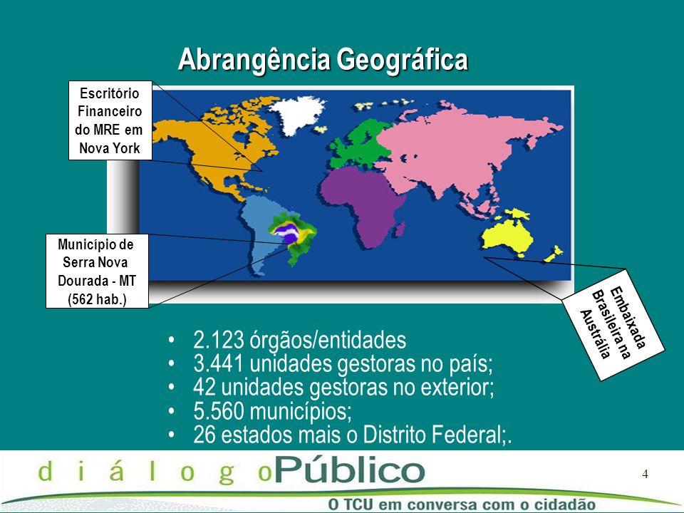 4 Abrangência Geográfica 2.123 órgãos/entidades 3.441 unidades gestoras no país; 42 unidades gestoras no exterior; 5.560 municípios; 26 estados mais o