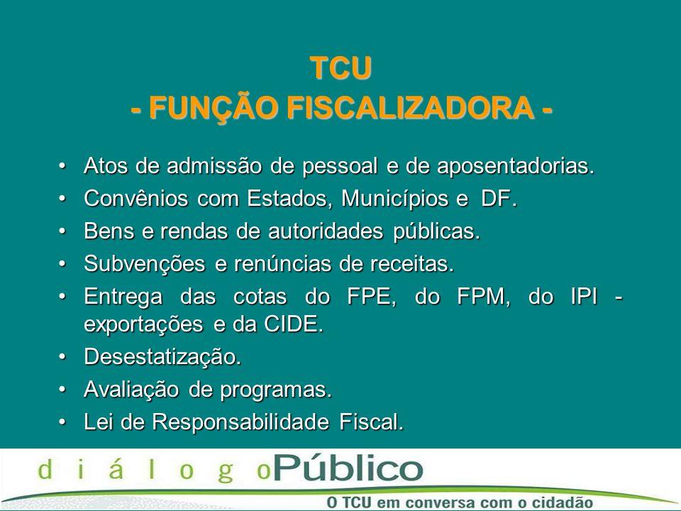 TCU - FUNÇÃO FISCALIZADORA - Atos de admissão de pessoal e de aposentadorias.Atos de admissão de pessoal e de aposentadorias. Convênios com Estados, M
