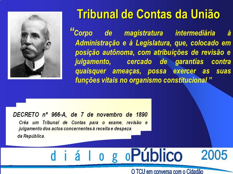 Tribunal de Contas da União Corpo de magistratura intermediária à Administração e à Legislatura, que, colocado em posição autônoma, com atribuições de