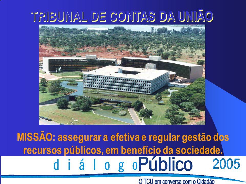 MISSÃO: assegurar a efetiva e regular gestão dos recursos públicos, em benefício da sociedade. TRIBUNAL DE CONTAS DA UNIÃO