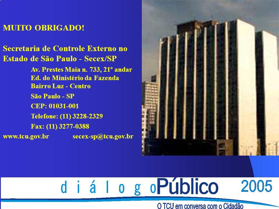 MUITO OBRIGADO! Secretaria de Controle Externo no Estado de São Paulo - Secex/SP Av. Prestes Maia n. 733, 21º andar Ed. do Ministério da Fazenda Bairr