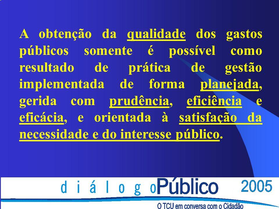 A obtenção da qualidade dos gastos públicos somente é possível como resultado de prática de gestão implementada de forma planejada, gerida com prudênc
