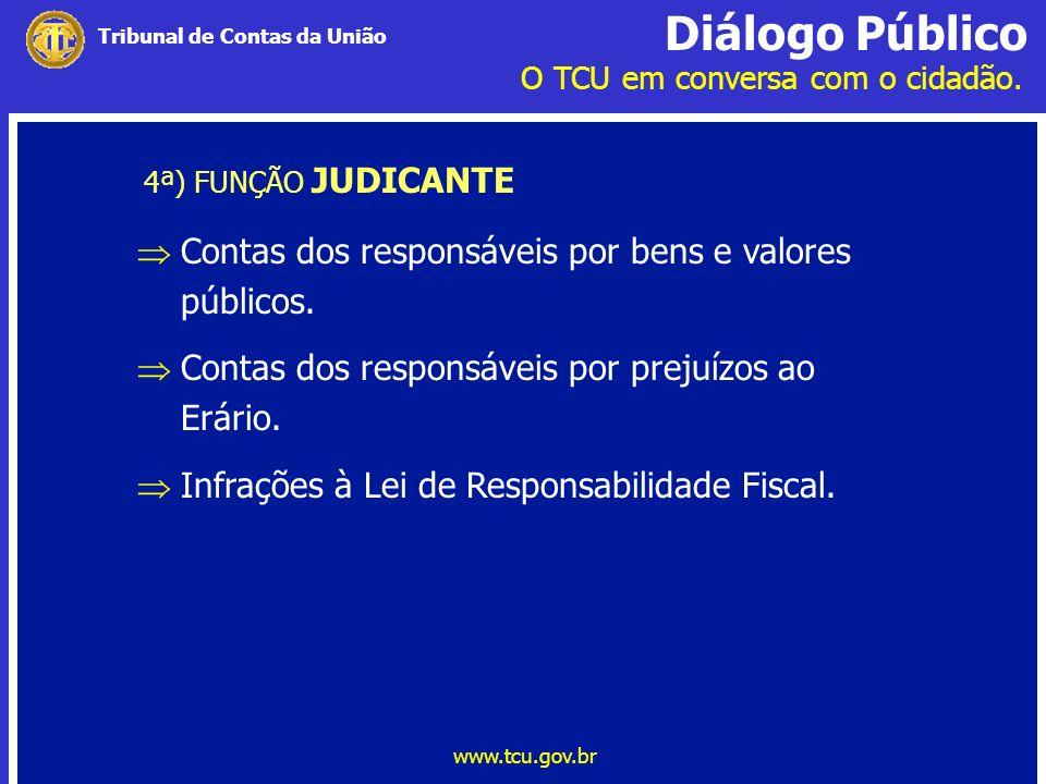 Diálogo Público O TCU em conversa com o cidadão. www.tcu.gov.br Tribunal de Contas da União 4ª) FUNÇÃO JUDICANTE Contas dos responsáveis por bens e va