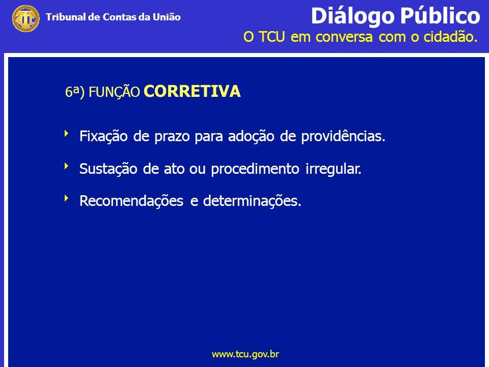 Diálogo Público O TCU em conversa com o cidadão. www.tcu.gov.br Tribunal de Contas da União 6ª) FUNÇÃO CORRETIVA Fixação de prazo para adoção de provi