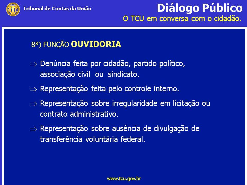 Diálogo Público O TCU em conversa com o cidadão. www.tcu.gov.br Tribunal de Contas da União 8ª) FUNÇÃO OUVIDORIA Denúncia feita por cidadão, partido p