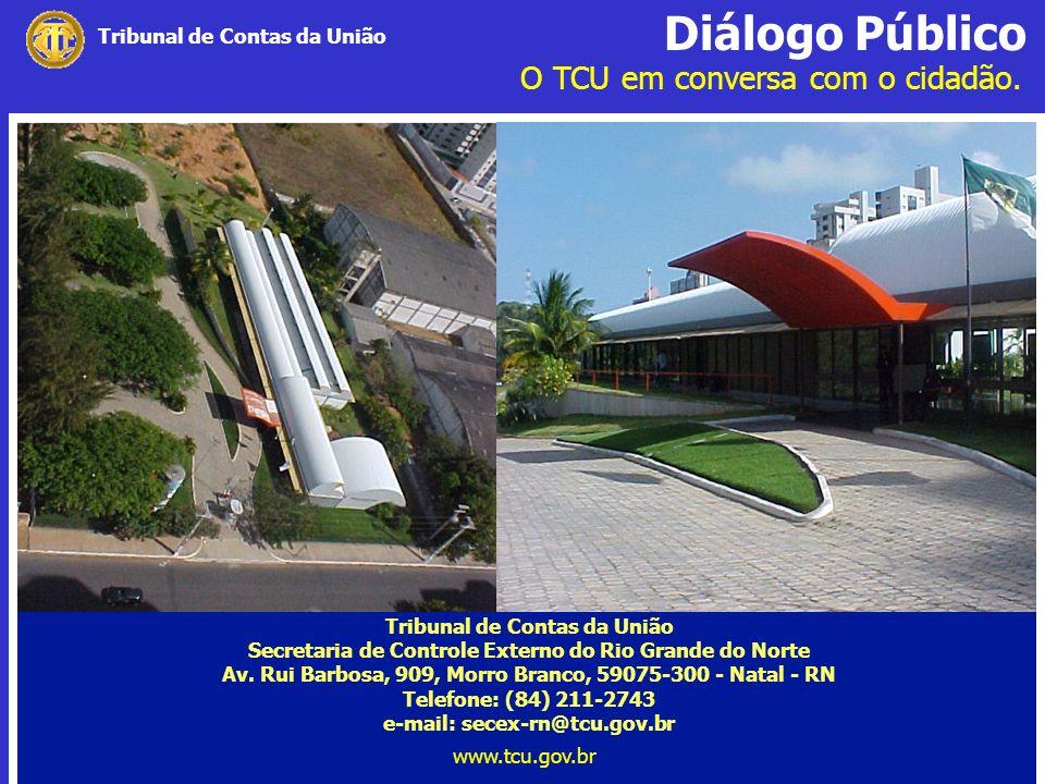 Diálogo Público O TCU em conversa com o cidadão. www.tcu.gov.br Tribunal de Contas da União Secretaria de Controle Externo do Rio Grande do Norte Av.