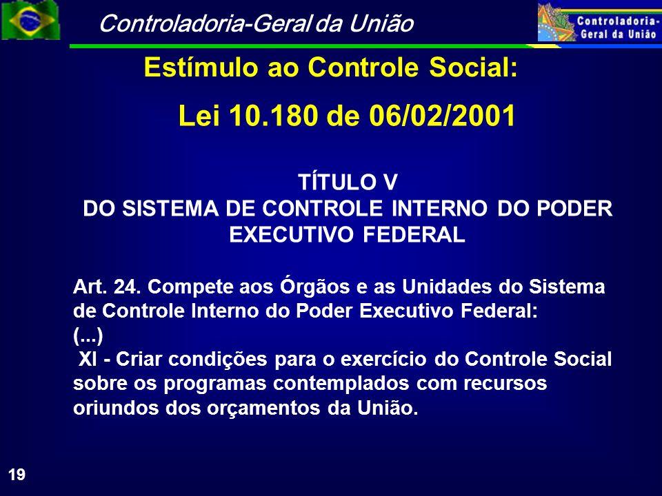 Controladoria-Geral da União 19 Lei 10.180 de 06/02/2001 TÍTULO V DO SISTEMA DE CONTROLE INTERNO DO PODER EXECUTIVO FEDERAL Art.