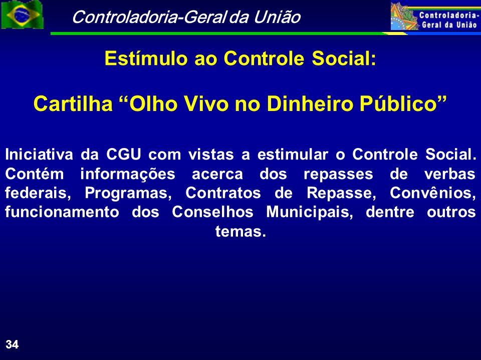 Controladoria-Geral da União 34 Cartilha Olho Vivo no Dinheiro Público Iniciativa da CGU com vistas a estimular o Controle Social.