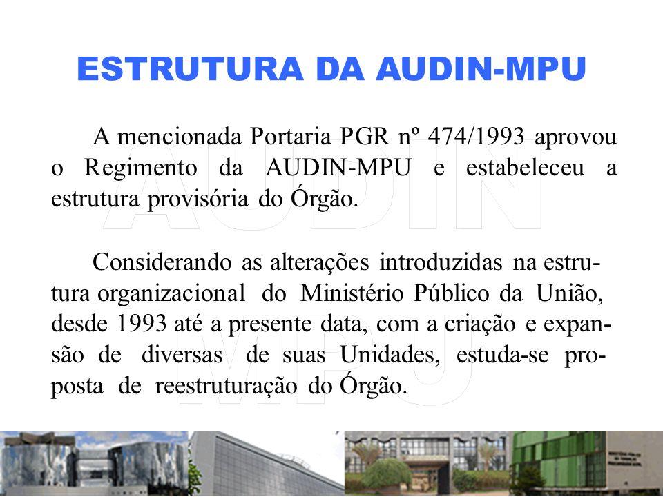 ESTRUTURA DA AUDIN-MPU A mencionada Portaria PGR nº 474/1993 aprovou o Regimento da AUDIN-MPU e estabeleceu a estrutura provisória do Órgão.