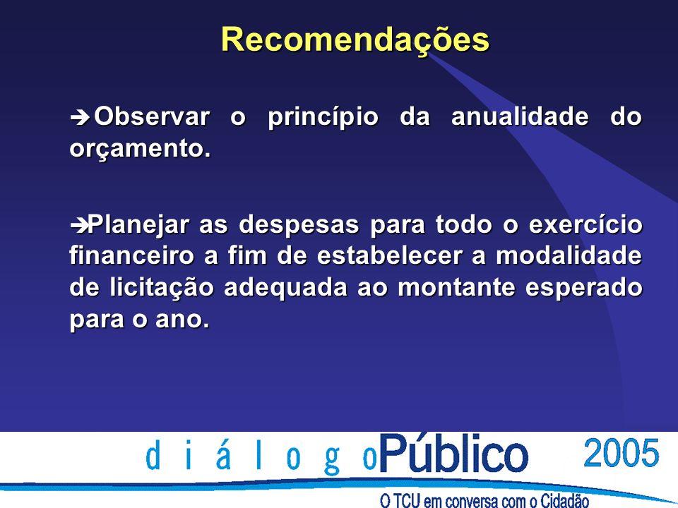 Recomendações è Observar o princípio da anualidade do orçamento.