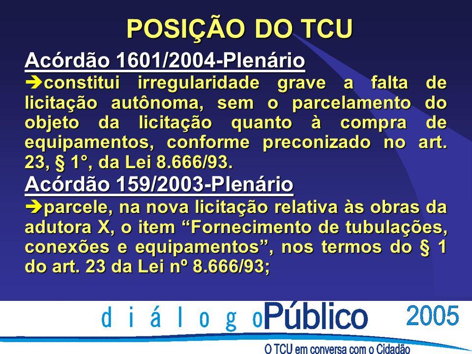 POSIÇÃO DO TCU Acórdão 1601/2004-Plenário constitui irregularidade grave a falta de licitação autônoma, sem o parcelamento do objeto da licitação quanto à compra de equipamentos, conforme preconizado no art.