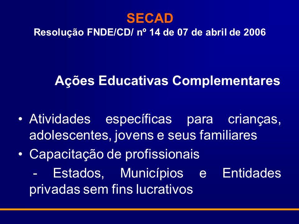 SECAD Resolução FNDE/CD/ nº 14 de 07 de abril de 2006 Ações Educativas Complementares Atividades específicas para crianças, adolescentes, jovens e seus familiares Capacitação de profissionais - Estados, Municípios e Entidades privadas sem fins lucrativos