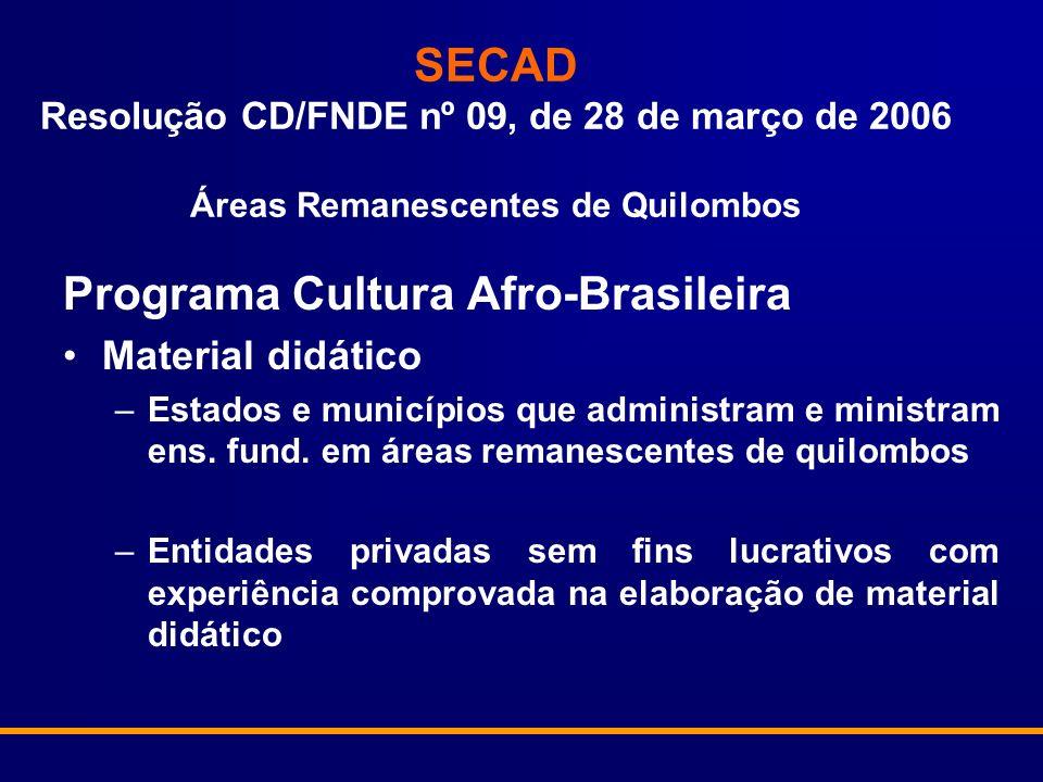 SECAD Resolução CD/FNDE nº 09, de 28 de março de 2006 Áreas Remanescentes de Quilombos Programa Cultura Afro-Brasileira Material didático –Estados e municípios que administram e ministram ens.