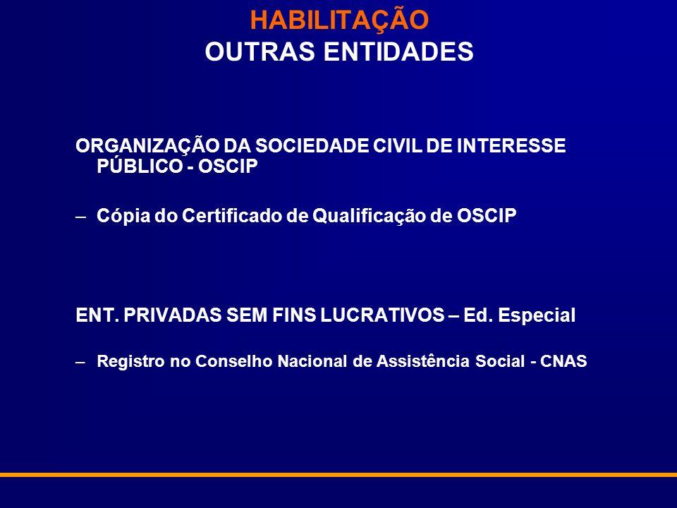 HABILITAÇÃO OUTRAS ENTIDADES ORGANIZAÇÃO DA SOCIEDADE CIVIL DE INTERESSE PÚBLICO - OSCIP –Cópia do Certificado de Qualificação de OSCIP ENT. PRIVADAS