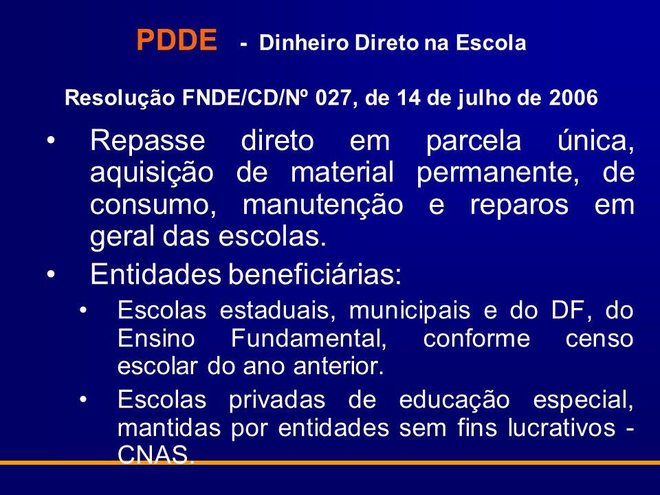 PDDE - Dinheiro Direto na Escola Resolução FNDE/CD/Nº 027, de 14 de julho de 2006 Repasse direto em parcela única, aquisição de material permanente, de consumo, manutenção e reparos em geral das escolas.
