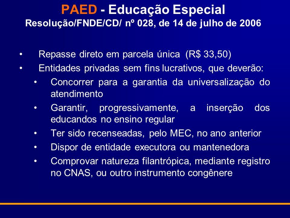 PAED - Educação Especial Resolução/FNDE/CD/ nº 028, de 14 de julho de 2006 Repasse direto em parcela única (R$ 33,50) Entidades privadas sem fins lucr