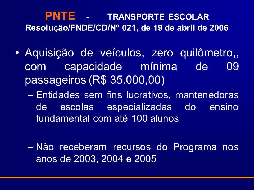 PNTE - TRANSPORTE ESCOLAR Resolução/FNDE/CD/Nº 021, de 19 de abril de 2006 Aquisição de veículos, zero quilômetro,, com capacidade mínima de 09 passag