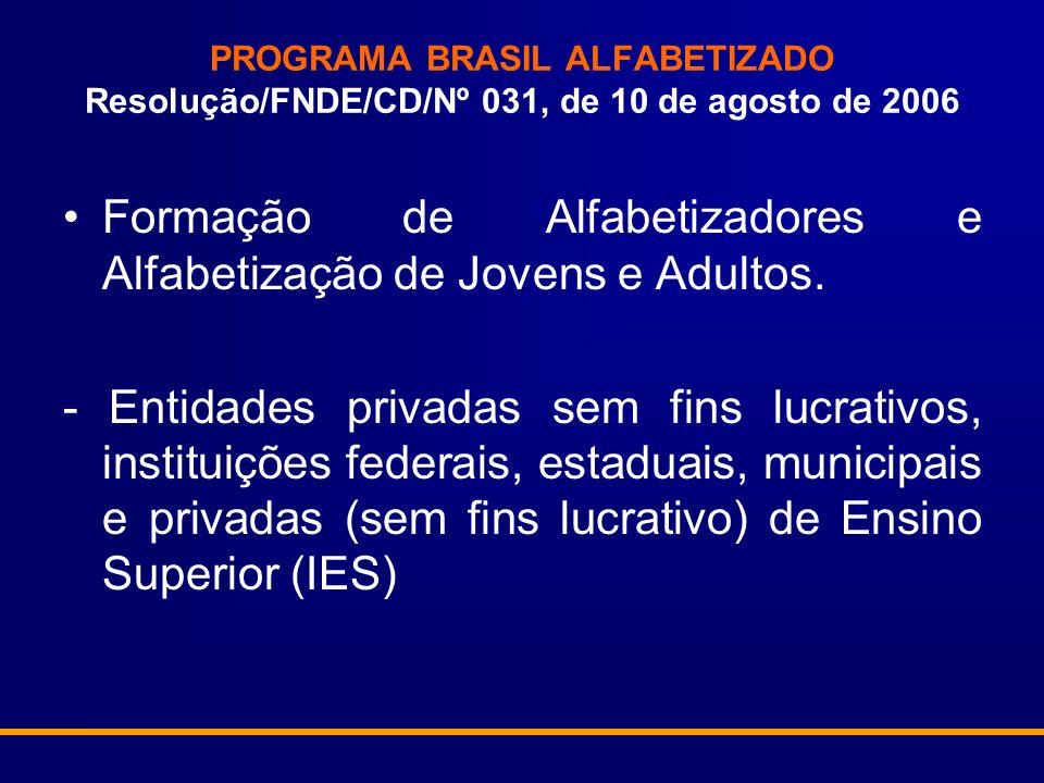 PROGRAMA BRASIL ALFABETIZADO Resolução/FNDE/CD/Nº 031, de 10 de agosto de 2006 Formação de Alfabetizadores e Alfabetização de Jovens e Adultos.
