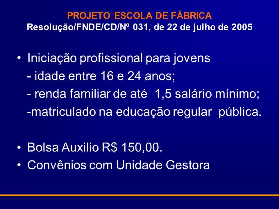 PROJETO ESCOLA DE FÁBRICA Resolução/FNDE/CD/Nº 031, de 22 de julho de 2005 Iniciação profissional para jovens - idade entre 16 e 24 anos; - renda familiar de até 1,5 salário mínimo; -matriculado na educação regular pública.