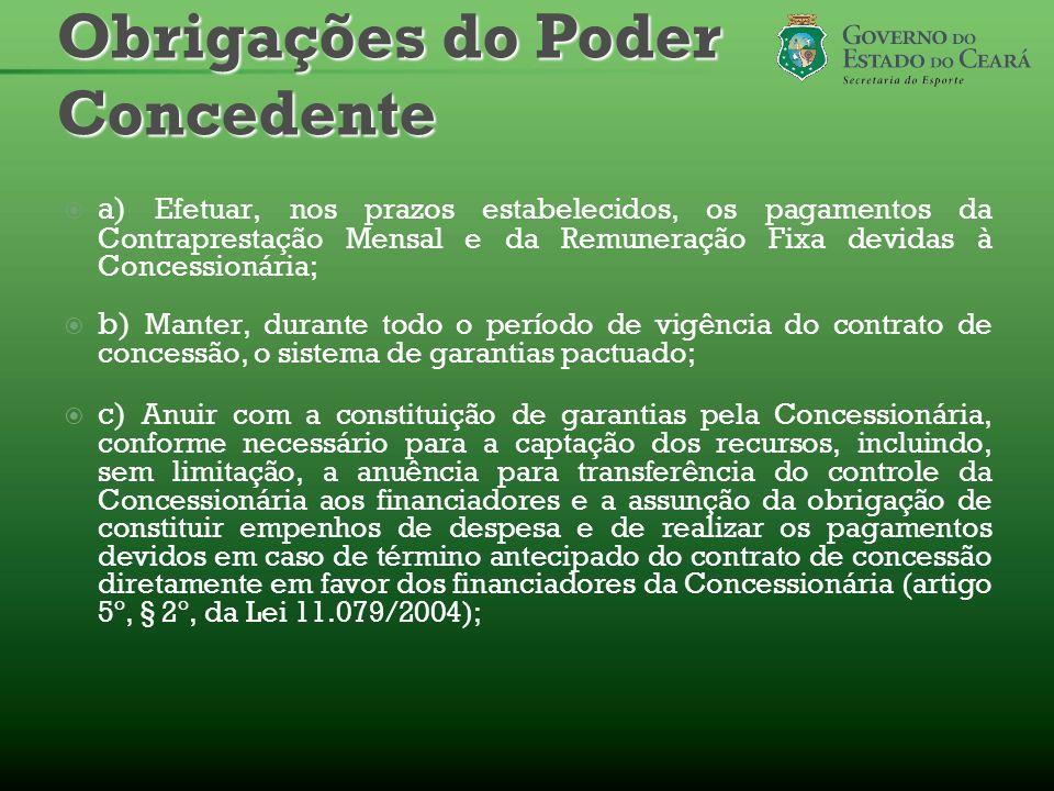 a) Efetuar, nos prazos estabelecidos, os pagamentos da Contraprestação Mensal e da Remuneração Fixa devidas à Concessionária; b) Manter, durante todo