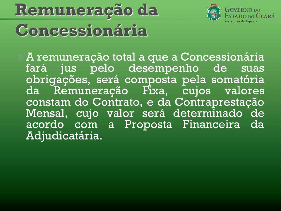 A remuneração total a que a Concessionária fará jus pelo desempenho de suas obrigações, será composta pela somatória da Remuneração Fixa, cujos valore
