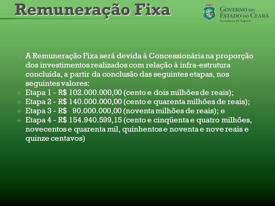 A Remuneração Fixa será devida à Concessionária na proporção dos investimentos realizados com relação à infra-estrutura concluída, a partir da conclus