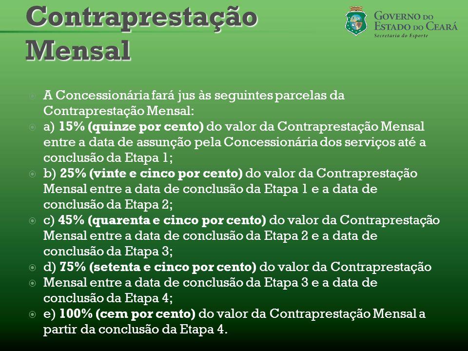 A Concessionária fará jus às seguintes parcelas da Contraprestação Mensal: a) 15% (quinze por cento) do valor da Contraprestação Mensal entre a data d
