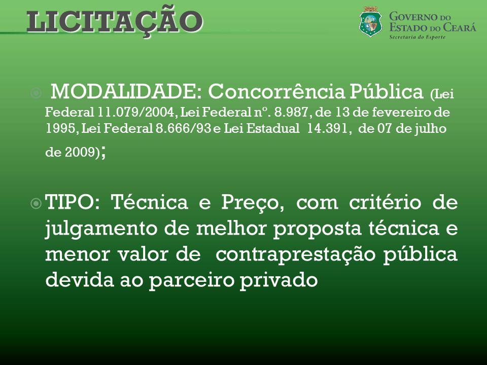MODALIDADE: Concorrência Pública (Lei Federal 11.079/2004, Lei Federal nº. 8.987, de 13 de fevereiro de 1995, Lei Federal 8.666/93 e Lei Estadual 14.3