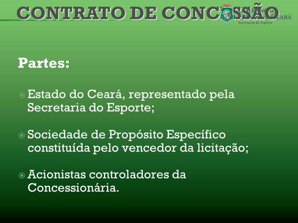 Partes: Estado do Ceará, representado pela Secretaria do Esporte; Sociedade de Propósito Específico constituída pelo vencedor da licitação; Acionistas