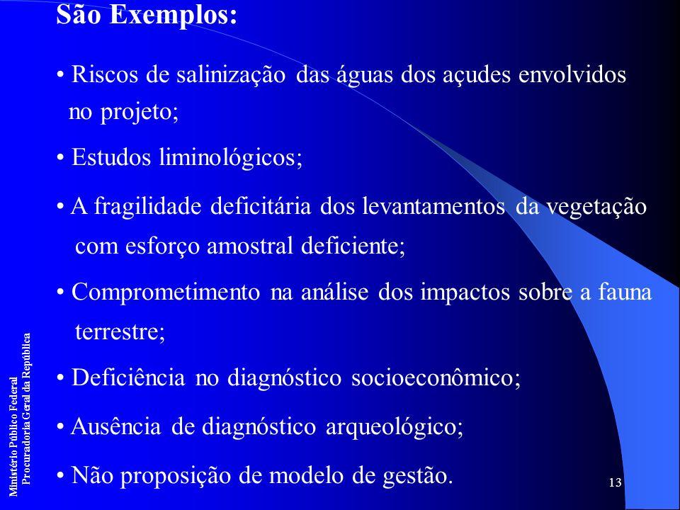 13 São Exemplos: Riscos de salinização das águas dos açudes envolvidos no projeto; Estudos liminológicos; A fragilidade deficitária dos levantamentos