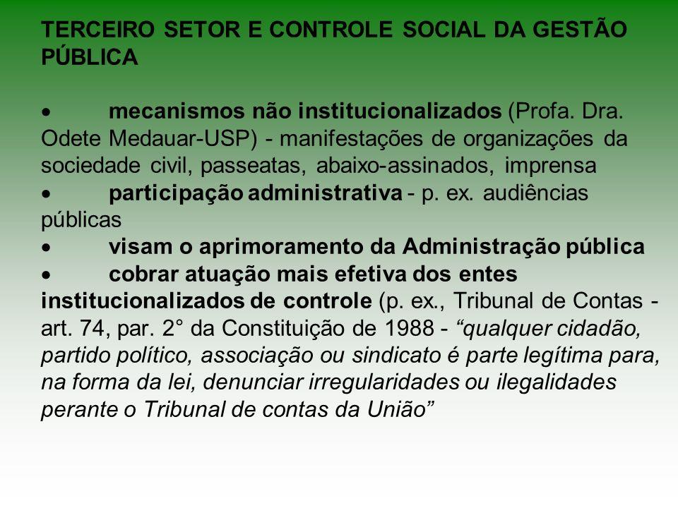 TERCEIRO SETOR E CONTROLE SOCIAL DA GESTÃO PÚBLICA mecanismos não institucionalizados (Profa. Dra. Odete Medauar-USP) - manifestações de organizações