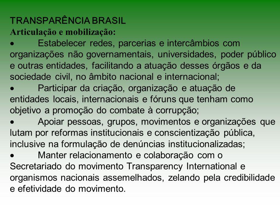 TRANSPARÊNCIA BRASIL Articulação e mobilização: Estabelecer redes, parcerias e intercâmbios com organizações não governamentais, universidades, poder