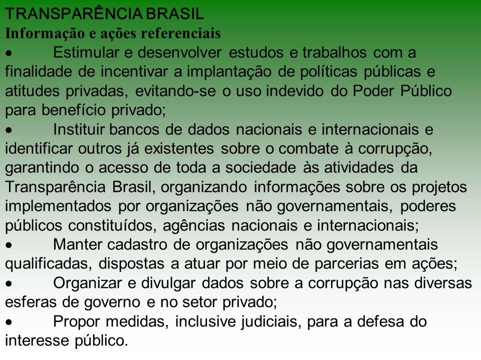 TRANSPARÊNCIA BRASIL Informação e ações referenciais Estimular e desenvolver estudos e trabalhos com a finalidade de incentivar a implantação de polít