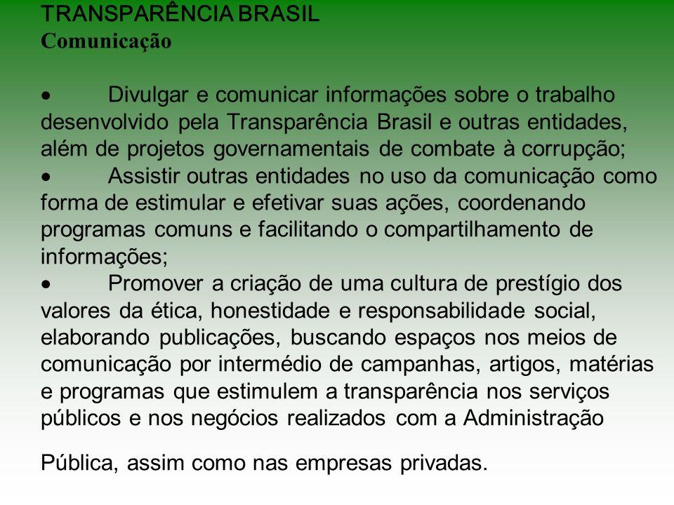TRANSPARÊNCIA BRASIL Comunicação Divulgar e comunicar informações sobre o trabalho desenvolvido pela Transparência Brasil e outras entidades, além de