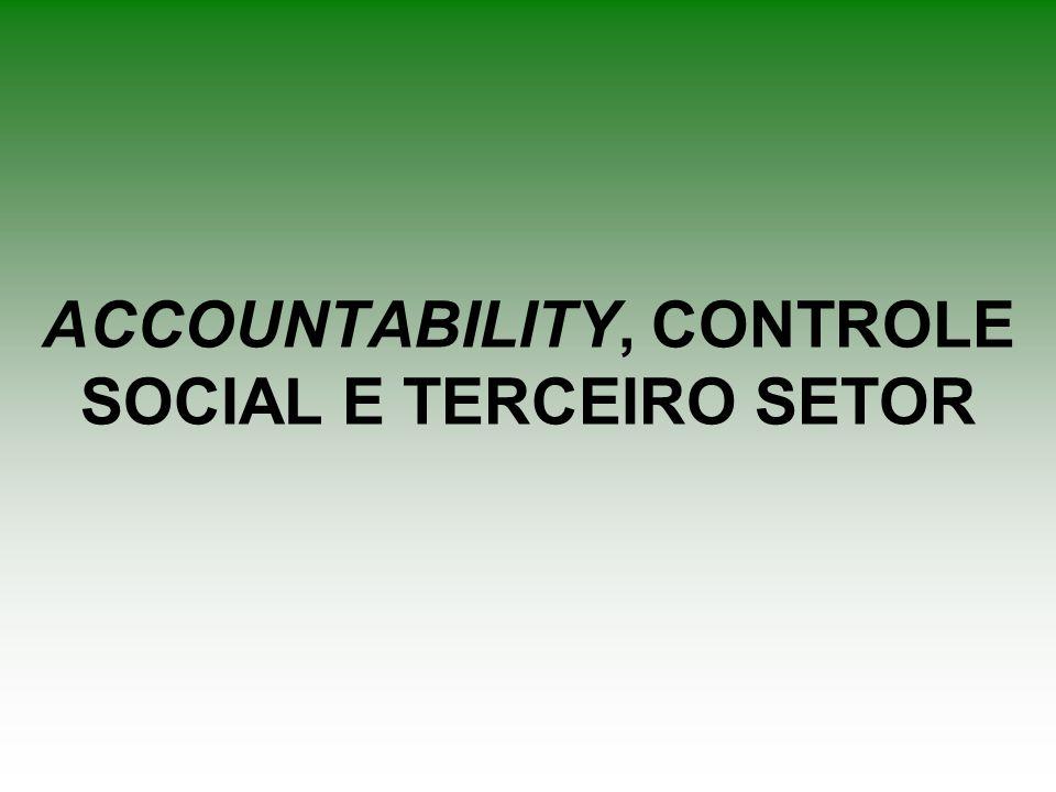 ACCOUNTABILITY, CONTROLE SOCIAL E TERCEIRO SETOR
