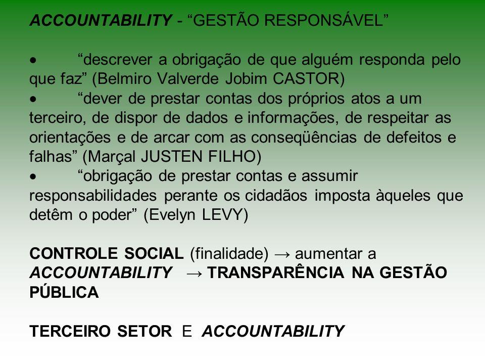 ACCOUNTABILITY - GESTÃO RESPONSÁVEL descrever a obrigação de que alguém responda pelo que faz (Belmiro Valverde Jobim CASTOR) dever de prestar contas