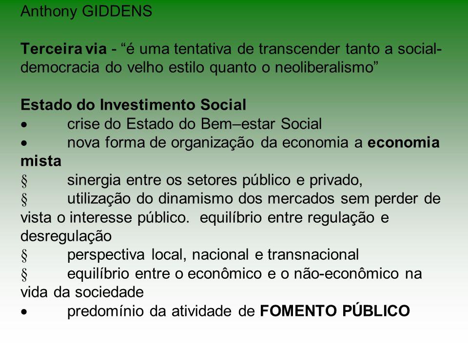Anthony GIDDENS Terceira via - é uma tentativa de transcender tanto a social- democracia do velho estilo quanto o neoliberalismo Estado do Investiment