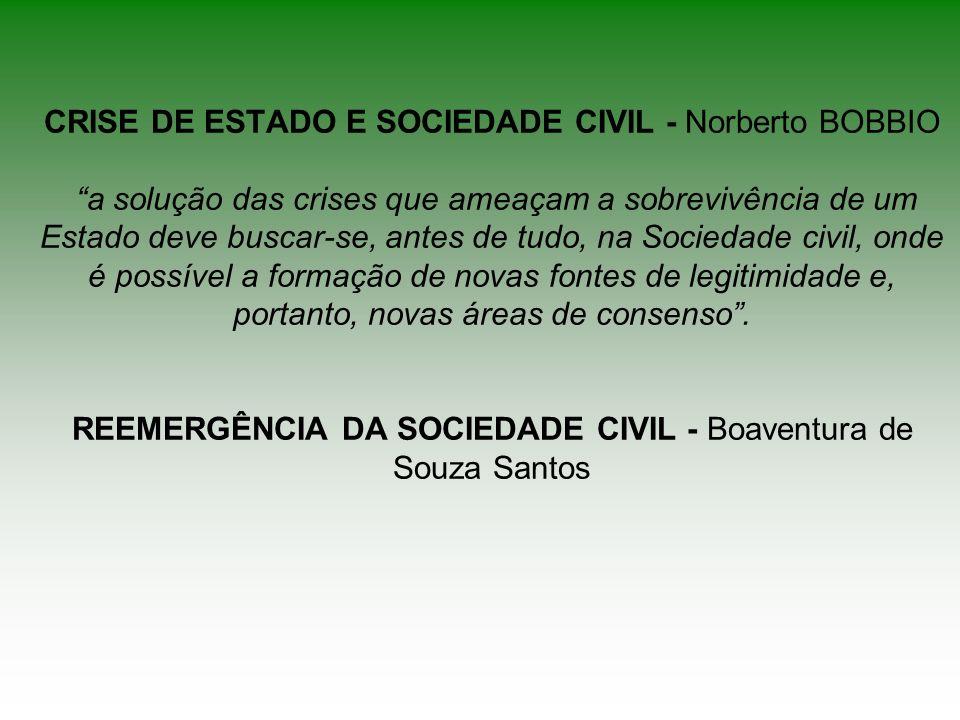 CRISE DE ESTADO E SOCIEDADE CIVIL - Norberto BOBBIO a solução das crises que ameaçam a sobrevivência de um Estado deve buscar-se, antes de tudo, na So